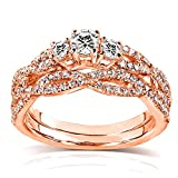 Round Diamond Braided Bridal Set 1/2 Carat (ctw) in 14k Rose Gold