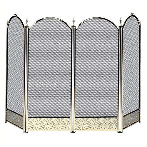 Four Fold Polished Brass Fireplace Screen - Filigree Designs (Blue Rhino Fireplace Screen compare prices)