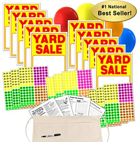 Hot Color Products Hot Color Products Yard Sale Sign Kit With Pricing Stickers And Change Apron