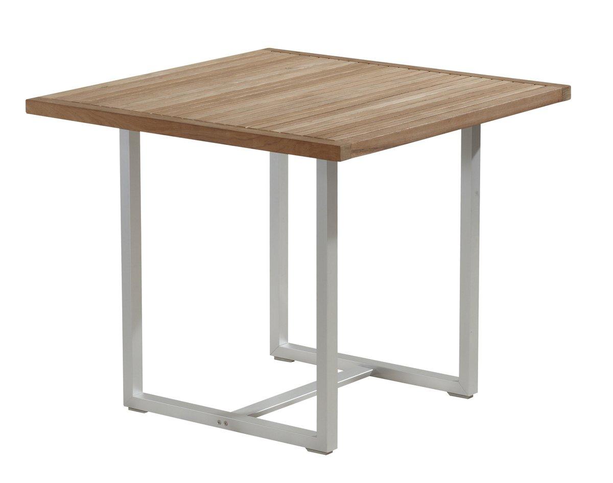 BALKE Tisch Venezuela, 90 x 90 cm, Aluminium und Teak