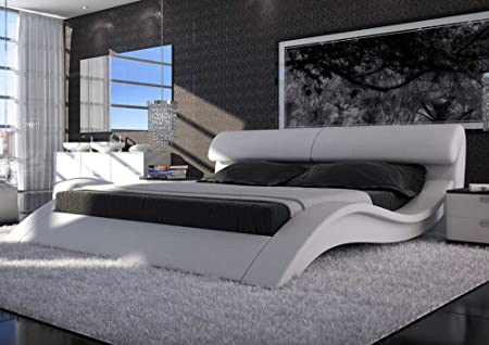 sam polster bett allure in wei 200 x 200 cm geschwungene. Black Bedroom Furniture Sets. Home Design Ideas