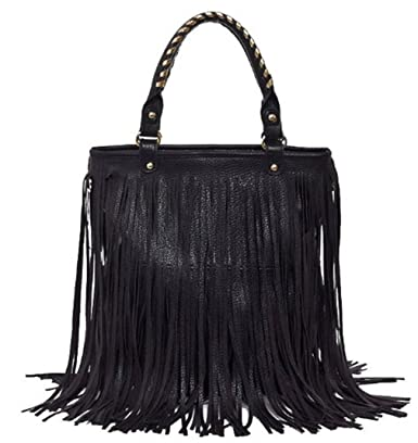 Black Fringe Knit Strap Shoulder Bag 81