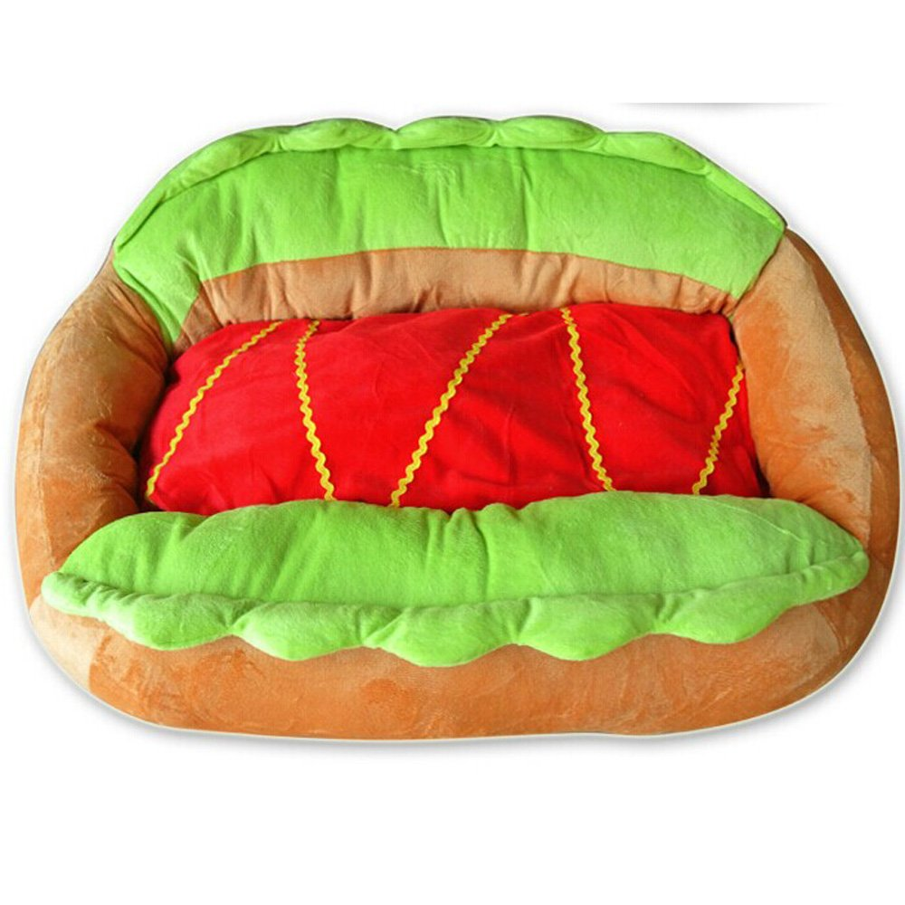 "Hot Dog Design Sofa Pet Bed with Removable Washable Pet Mat Dog House,24"" X 16"" X 8"""