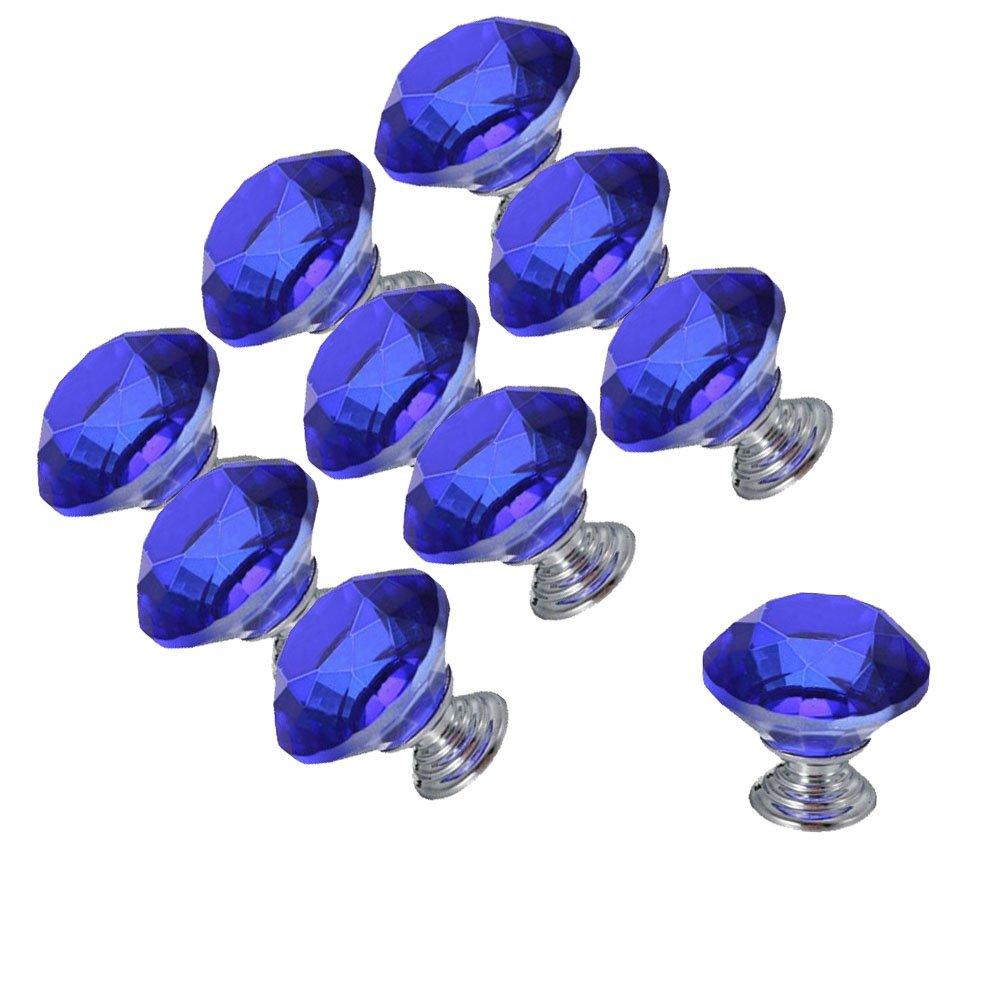 DECOOL (TM) 40mm 10PCS Blau Diamant Shape Kristallglas Türknauf Zug-Handgriff Küche griff Türknopf Möbelgriffe Möbelknauf Möbelknopf Kabinett Fach Knob Wohnkultur online bestellen