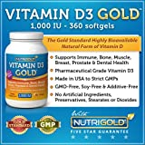 Vitamin D3 GOLD - 1000 IU, 360 Softgels (GMO-free, Preservative-free, USP Grade Vitamin D from natural source)