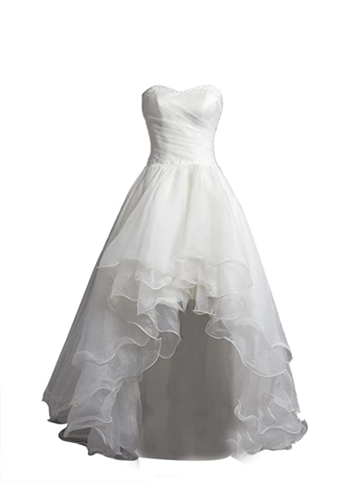 Tidetell 2105 Chic Hi Low Bridal Gowns Organza Strapless Wedding Dresses Ivory Size 10