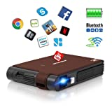 Smart Pocket Mini Projector, 1080P WIFI Home Theater Pico Rechargeable Video DLP Projector Support Bluetooth HDMI USB Keystone Correction Bluetooth Built-in Battery Stereo Audio, Wireless Airplay WIFI (Color: Mini Pico DLP Projector)