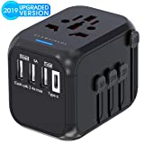 Universal Travel Adapter, GLAMFIELDS International Power Adapter, Worldwide All in One AC Outlet Power Plug Adapter with 3 USB + 1 Type C Charging Ports for USA UK AUS European 200 Countries (Color: Black)
