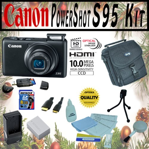 Canon PowerShot S95 10MP Digital Camera with Accessory Kit Package Includes 8Gb High Speed Error Free Memory Card, Case, Extra Batttery Pack + 1 Hour Rapid AC/DC Charger + More