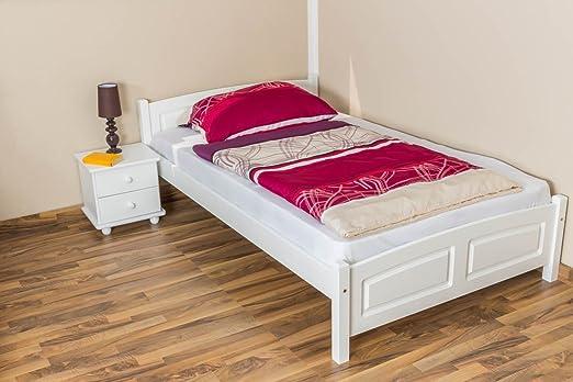 Bett / Gästebett Buche massiv Vollholz weiß lackiert 117, inkl. Lattenrost - Abmessung 120 x 200 cm