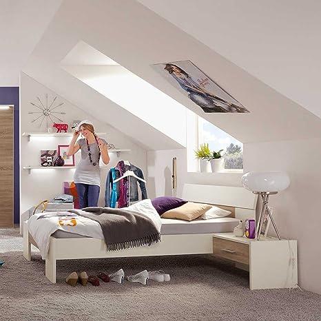 Bett fur Jugendzimmer Weiß Eiche Breite 128 cm Ohne Liegefläche 120x200 Pharao24