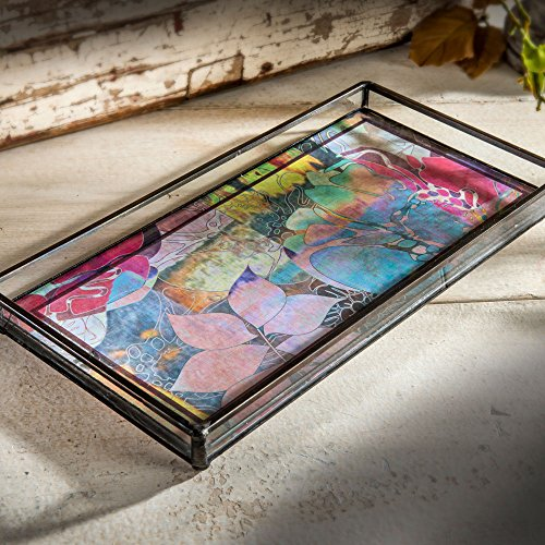 J Devlin Tra 137 Decorative Glass Tray With Removable Floral Artwork Insert 10 3/4