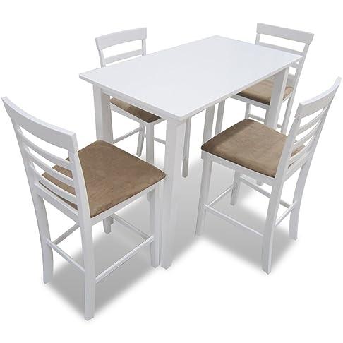 Anself Set Tavolo con 4 Sedie in Legno per Bar Cucina e Sala da Pranzo, Bianco/Marrone