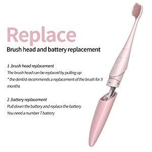 Kids Electric Sonic Toothbrush ,Kids&Adults Travel Sonic Toothbrush 2-Minute Timer -Sonic Toothbrush Pink (Color: Pink)