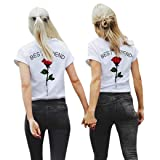 Women Blouse, ? Ninasill ? Hot Sale ! Best Friend Letters Rose Printed T Shirts Causal Tops T Shirt Tank (S, Red) (Color: Red, Tamaño: S)