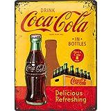 Tin Sign 30 x 40 cm - Coca Cola - in Bottles yellow
