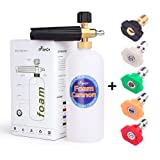 AYOGU Foam Cannon Adjustable Snow Foam Lance with 1/4 Quick Connector Foam Blaster for Pressure Washer Gun 1 Liter Bottle,5 Pressure Washer Nozzles for Cleaning (Foam Cannon with 5 Nozzles) (Color: Foam Cannon with 5 Nozzles)