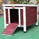 Petsfit kleine Kaninchenhütte, Katzenunterschlupf für draussen, hölzernes Meerschweinchenhaus, Farbe rot, 40cm x 50cm x 43cm