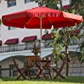 Abba Patio 3m Runde Kurbel Garten Sonnenschirme Sonnenschutz mit Volant, 8-teilig, dunkelrot von Abba Patio auf Gartenmöbel von Du und Dein Garten