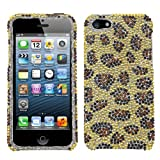 MYBAT Leopard Skin/Camel Diamante Protector Cover for APPLE iPhone 5
