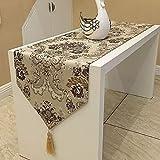 おしゃれ テーブル ランナー 空間 モダン インテリア リビング おもてなし アジアン ラグ 刺繍 カバー リネン 寝室 ベッド クロス 北欧 タッセル 付き (205×33cm, ブラウン)