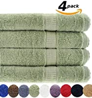 4 Luxury Combed Cotton Large Bath Towels - Sage Green
