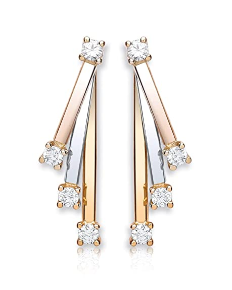 Carissima Gold 9 ct 3 Colour Gold Cubic Zirconia Russian Drop Earrings