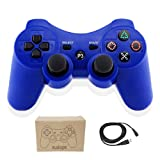 Kolopc Wireless Bluetooth Controller For PS3 Double Shock - Bundled with USB charge cord (Blue) (Color: Blue)