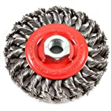 Forney 72759 Wire Wheel Brush, Twist Knot with 5/8-Inch-11 Threaded Arbor, 4-Inch-by-.012-Inch