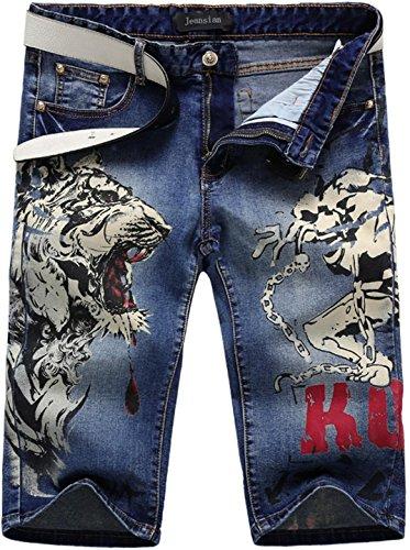 Jeansian Moda Pantaloni Casual Uomo Stampato Jeans Uomini Shorts in Denim MJB035 Blue W31