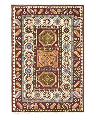 "Hand-Knotted Royal Kazak Rug, Cream/Dark Red, 4' 1"" x 5' 11"""