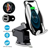 Qi Wireless Car Charger Mount Automatic Clamping SAUDIO Dashboard Air Vent Gravity Sensor Phone Holder Compatible with iPhone X/Xs MAX/XS/XR/X/8/8+,Samsung S10/S10+/S9/S9+/S8/S8+ (Color: automatic)