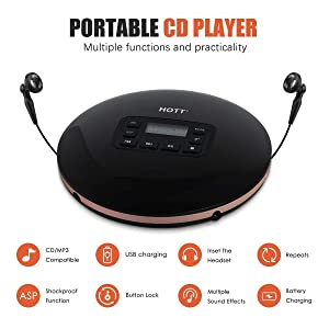CD Player Portable, HOTT Discman CD Player for Adults/Kids with LCD Display and Anti-Skip Protection Shockproof Function Only Support 5 Formats CD, CD-R, CD-RW, MP3, CD-DA, WMA Audio Files, Silver (Color: Black9)