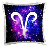 3dRose pc_202147_1 Aries Symbol on Purple Space Background Arian Horoscope Star Sign Pillow Case, 16
