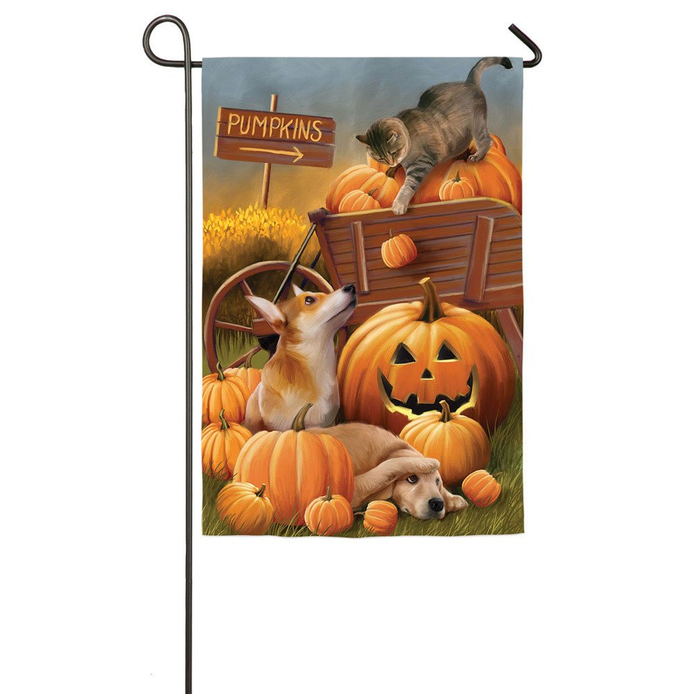 Dogs and Cat At The Pumpkin Patch Garden Flag