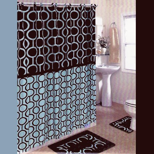 BROWN and BLUE 15-Piece Bathroom Set: 2-Rugs/Mats, 1-Fabric Shower Curtain, 12-Fabric Covered Rings. Retro/Beads/Chain/Pattern