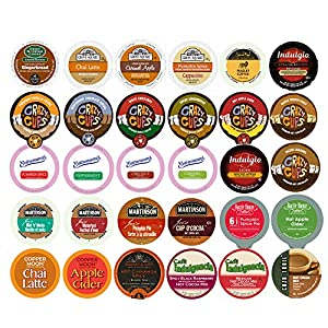 Coffee,Cappuccino,Tea,Cocoa and Cider Single Serve Cups For Keurig K Cup brewer Sampler Pack,30 Count