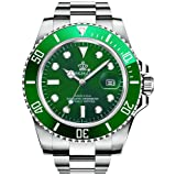 Gosasa 2016 New Fashion Quartz Watch Men Stainless Steel Dress Watch with Green Dial Water Proof (Color: Green)