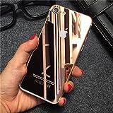 iPhone5/5S/5SE iPhone6/6S/6P iPhone7/7P カラー 強化ガラスフィルム 全画面貼る可能 0.20mm 超薄型 液晶保護フィルム カラーフィルム 半面ミラー仕様 正面用と裏面用の2枚セット➕バンパー (iPhone7P,シャンパンーゴールド)