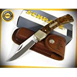 Old Timer Golden Bear Plain Sharp Knife with Sheath 6OTW perfect for outdoor camping hunting