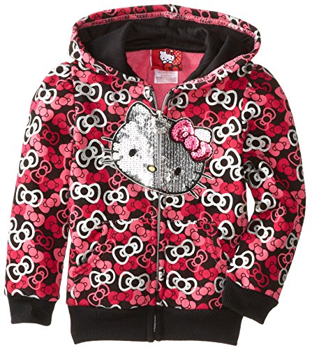 Hello Kitty Little Girls' Bow Print Zip Up Hoodie, Anthracite, 6 front-488703