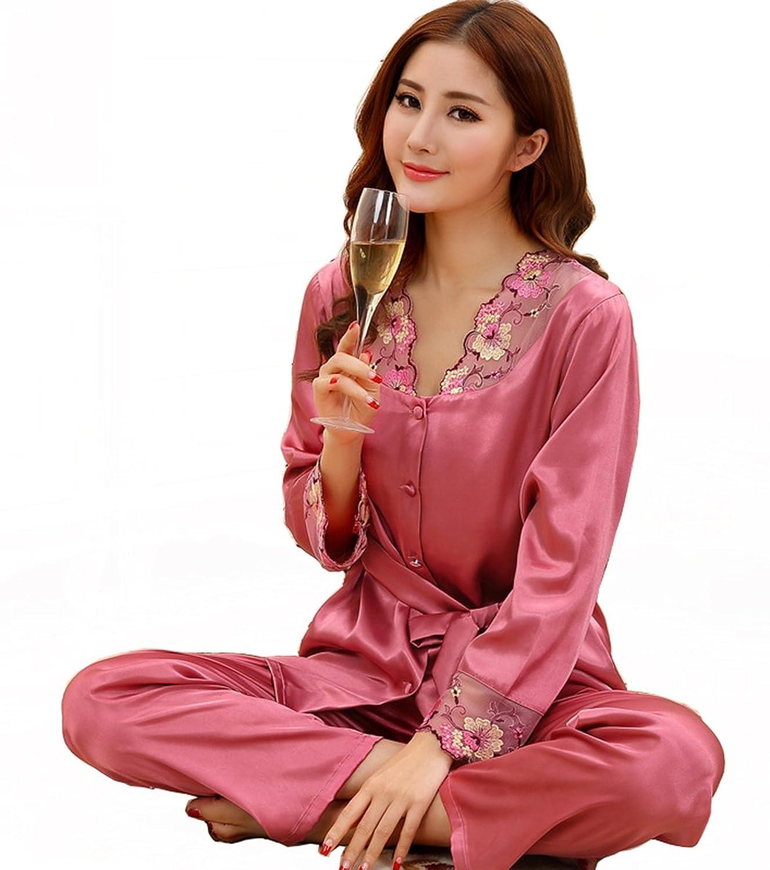 Sunjune Womens Satin Silk Lace Long Sleeve Nightwear Sleepwear Pajama Set  Two Pieces 43bd80e55