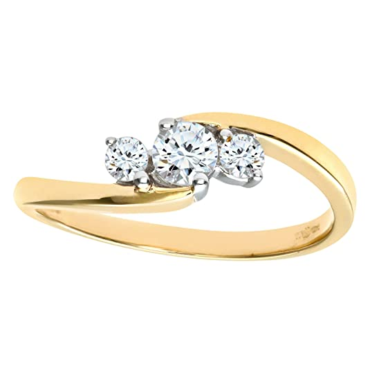 Naava 9ct Yellow Gold Diamond Three Stone Ladies Ring