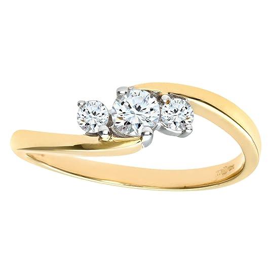 Naava 9ct Yellow Gold Diamond Three Stone Ladies Ring