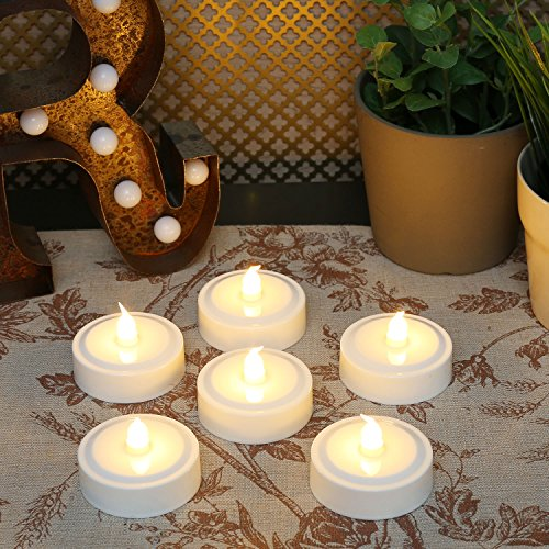 Set of 6 Extra Large Amber Flameless LED Battery Operated Tea Lights with Color Changing Option