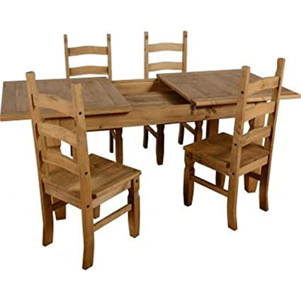 Seconique Essgruppe Corona, Kiefernholz, Tisch mit 4 Stuhlen