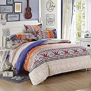 Ttmall Queen Size 4-pieces Cotton&microfiber Lavender White Brown Red Orange Striped Boho Style Bohemian Prints Duvet Cover Set/bed Linens/bedding Sets/bed Sets/bed Covers(queen, 1duvet Cover+1flat Sheet+2pillowcases)