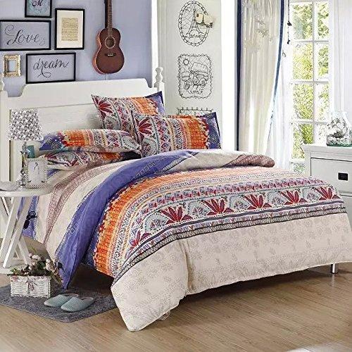 Ttmall Queen Size 4-pieces Cotton&microfiber Lavender White Brown Red Orange Striped Boho Style Bohemian Prints Duvet Cover Set/bed Linens/bedding Sets/bed Sets/bed Covers(queen, 1duvet Cover+1flat Sheet+2pillowcases)