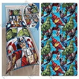 Marvel Avengers Shield Single/US Twin Duvet Cover Set + Avengers Single Fitted Sheet