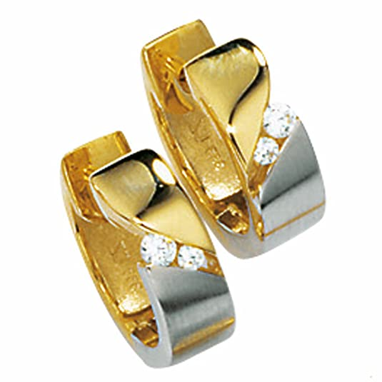 HOOP EARRINGS 333/-YELLOW GOLD 4 ZIRCONIA